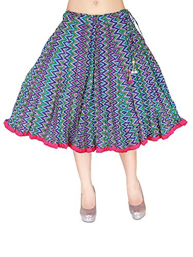 In-Sattva Colors Womens Mid-length skirt with crushed printed fabric, Blue by In-Sattva