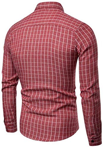 Jofemuho Men Regular Fit Long Sleeve Formal Plus Size Dress Checkered Shirt