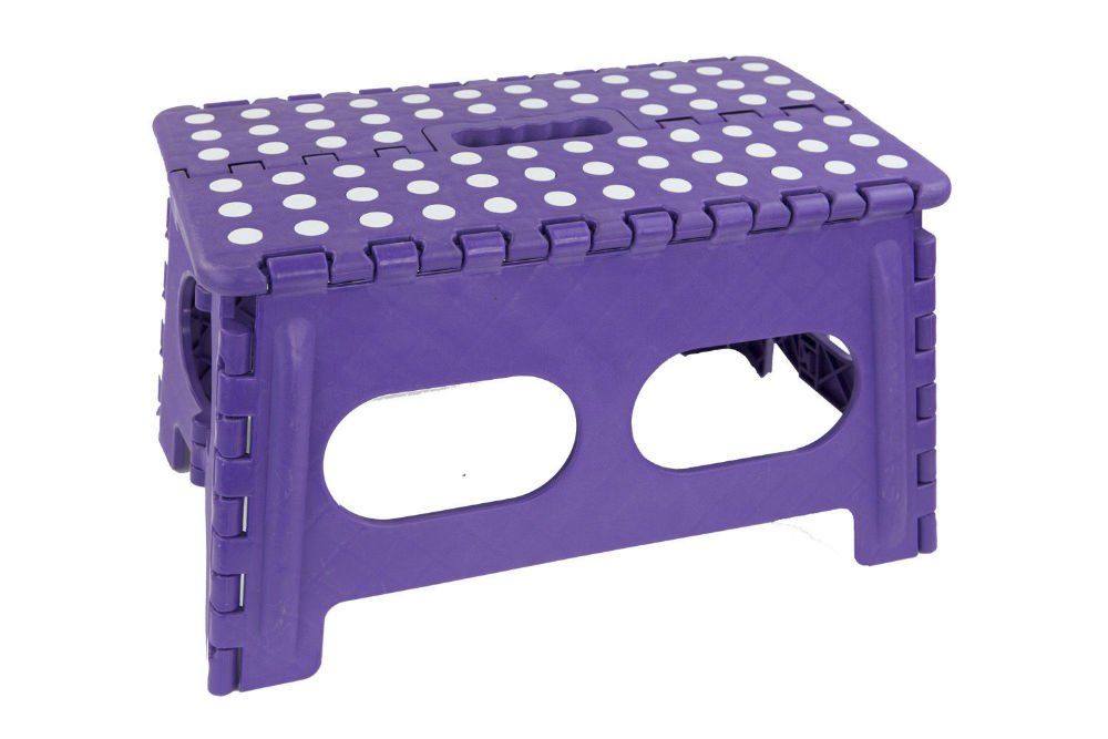 NEW Purple Bright Wide Large Folding Step Stool with Non-Slip Dots- FS49429