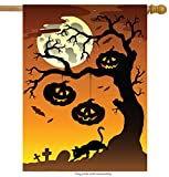 Cheap ShineSnow Pumpkin Cat Halloween Tree Branch Forest House Flag 28″ x 40″ Double Sided, Polyester Autumn Moon Yellow Bat Funny Welcome Yard Garden Flag Banners for Patio Lawn Home Outdoor Decor