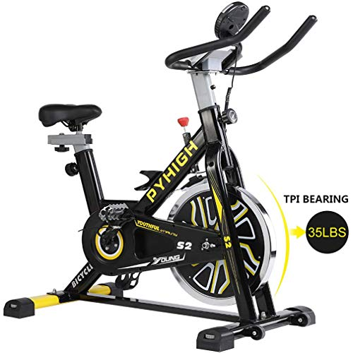 PYHIGHIndoor Cycling Bike Belt Drive Stationary Bicycle ExerciseBikes with LCD Monitor for Home Cardio Workout BikeTraining- Black (Renewed)