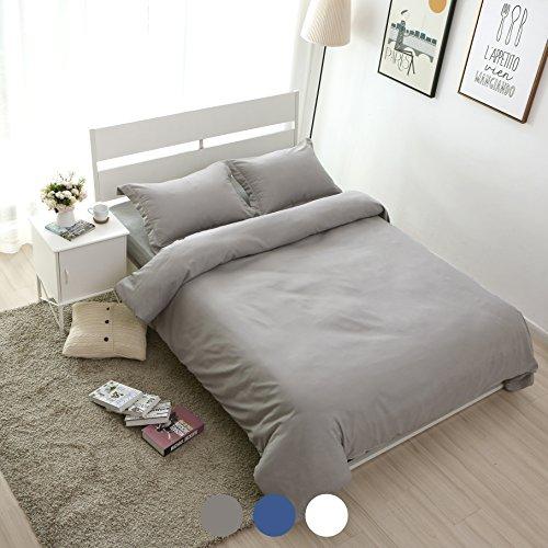 Price comparison product image ALPHA HOME Duvet Cover Set Quilt Cover Comforter Case 3-piece Bedding Set Soft Brushed Microfiber with Zipper Closure (Queen)