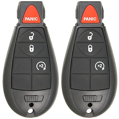 Keyless2Go Keyless Entry Remote Car Key for RAM Vehicles That Use 4 Button Fobik GQ4-53T with Remote Start - 2 Pack