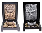 Zen Set of Two Buddha Face Garden Rock Candle Holder Gift & Home Decor US Seller