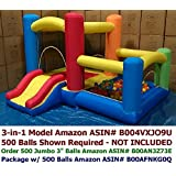 """Perfect Size for Indoor Use - My Bouncer 3-in-1 Little Castle Bounce 118"""" L X 102"""" D X 72"""" H with Attached Ball Pit and Slide"""