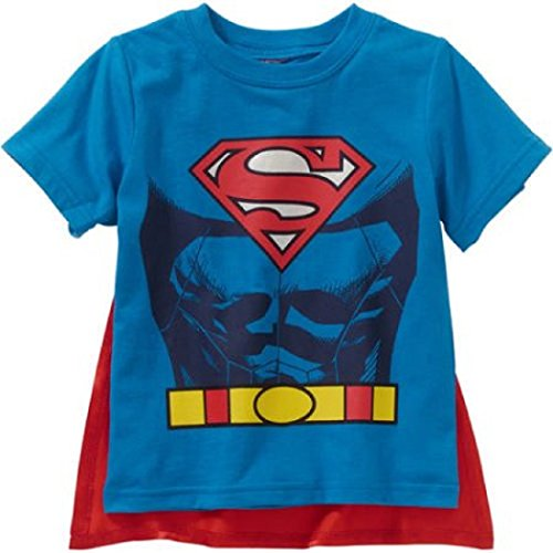 Superman Toddler Little Boys Graphic T-Shirt with Cape (3T, Royal Blue) (Superman T Shirt With Cape)