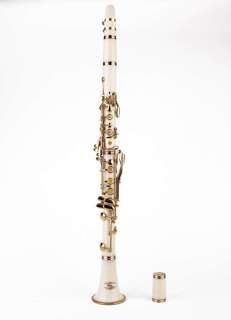 Glory B Flat Clarinet with Second Barrel, 11reeds,8 Pads cushions,case,carekit and more~ white with gold keys 10802503