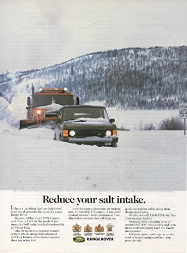 Magazine Print Ad: 1994 Range Rover County LWB, $47,000, Mountains and Snow Plow,