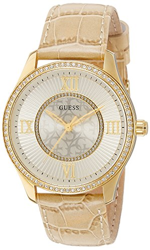 Guess Womens Analogue Quartz Watch with Leather Strap W0768L2