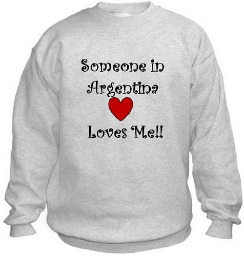 Argentine Island Light - SOMEONE IN ARGENTINA LOVES ME - Country-Series - Light Grey Sweatshirt - size XL