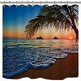 Riyidecor Sunset Hawaiian Shower Curtain Beach Tropical Palm Tree Ocean Decor Fabric Panel Bathroom Set 72x72 Inch 12 Pack Plastic Shower Hooks Included