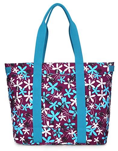 Crest Design Women handbag Tote Shoulder Bag for Laptops up to 17 inch (X-Large, Purple laurentia)