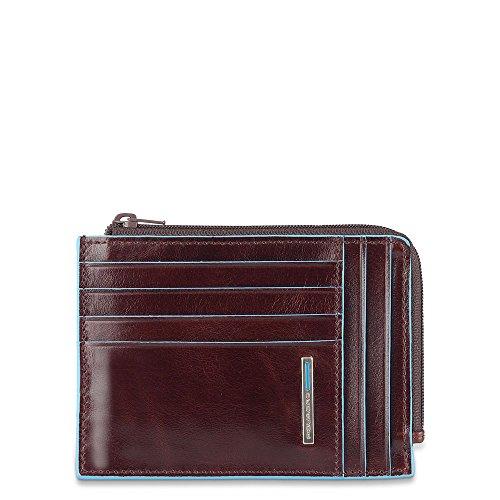 Mahogany Passport Holder (Piquadro Leather Credit Card Holder with Zip Pocket, Mahogany, One Size)