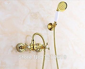 Grifo de ducha galvanizado, estilo europeo, acabado dorado, grifo mezclador para bañera,