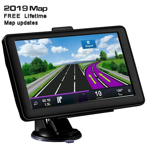 GPS Navigation for car, 7 inch Lifetime Map Update Spoken Turn-to-Turn Navigation System for Cars,Attach Sunshade,Free Lifetime Maps Update,Pre-Install Newest North America map