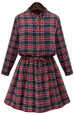 ChezAbbey Women Casual Cuffed Sleeve Button Up Attached Belt Plaid Shirt Dress
