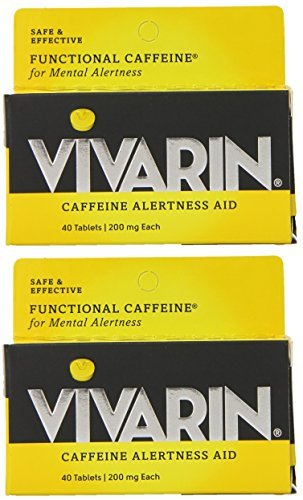 Vivarin Caffeine Alertness Aid - Safe & Effective - 200 mg Caffeine Per Tablet - 40 Count Tablets Per Box - Pack of 2 Caffeine Alertness Aid Tablets