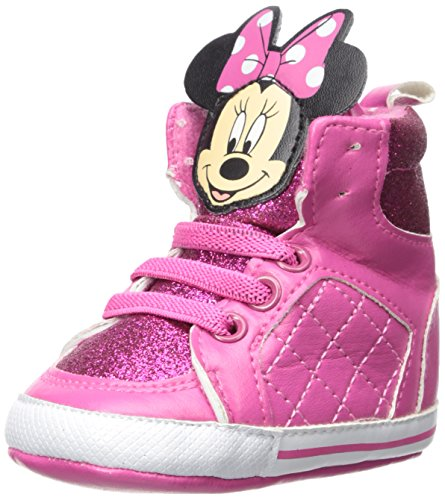 Disney Baby Girls Minnie Mouse Infant Shoes, Pink Mickey Mouse High-Top Sneakers, Age 9-12 Months