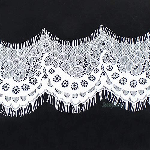 3yds Black Scallop Fabric Polyester Applique Venise Lace Charming Sewing Trim (Color - White)