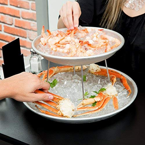 American Metalcraft 2 Tier Seafood Tower Set with Large Aluminum Trays and Stand (Platter Serving Oyster)