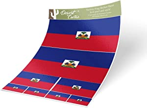 Desert Cactus Haiti Country Flag Sticker Decal Variety Size Pack 8 Total Pieces Kids Logo Scrapbook Car Vinyl Window Bumper Laptop Haitian V