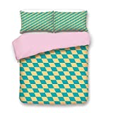 Pink Duvet Cover Set,Twin Size,Art Deco Style Chess Table Dart Like Horizontal Vintage Image,Decorative 3 Piece Bedding Set with 2 Pillow Sham,Best Gift For Girls Women,Turquoise and Light Yellow