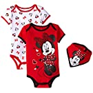 Disney Baby-Girls Minnie Mouse Bodysuits and Bib, Red, 0-3 Months (Pack of 3)