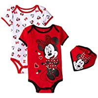 Disney Baby-Girls Minnie Mouse Bodysuits and Bib, Red, 6-9 Months (Pack of 3)