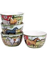 "Certified International 28153SET4 Clover Farm 5.25"" Ice Cream/Dessert Bowls, Set of 4 Assorted Designs, Multi Colored"