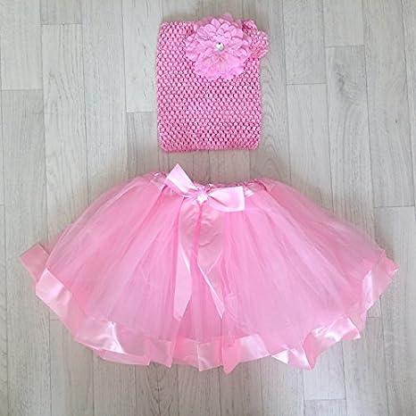 Conjunto con falda tul rubantée modelo, color rosa claro y gris ...