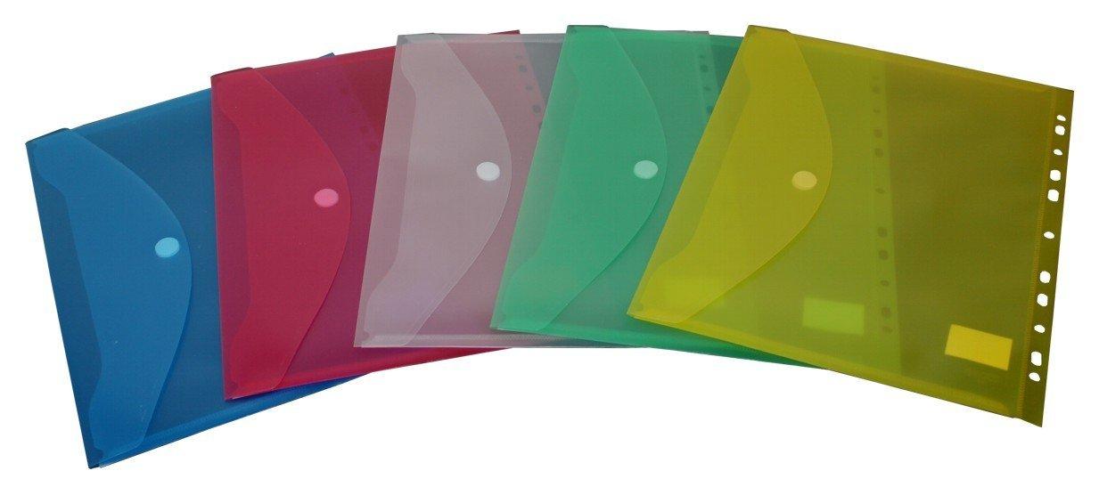 10 St/ück transparent gr/ün EXXO by HFP 35336 Dokumententasche A4 quer mit Abheftrand und Eurolochung