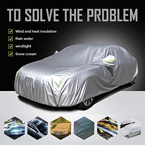 """ECCPP Universal Car Cover 100% Breathable 190T Polyester Waterproof Frost Resistant Cover All Weather Protection Up to 190"""" for Most Cars Silver Grey -1 Year Warranty"""
