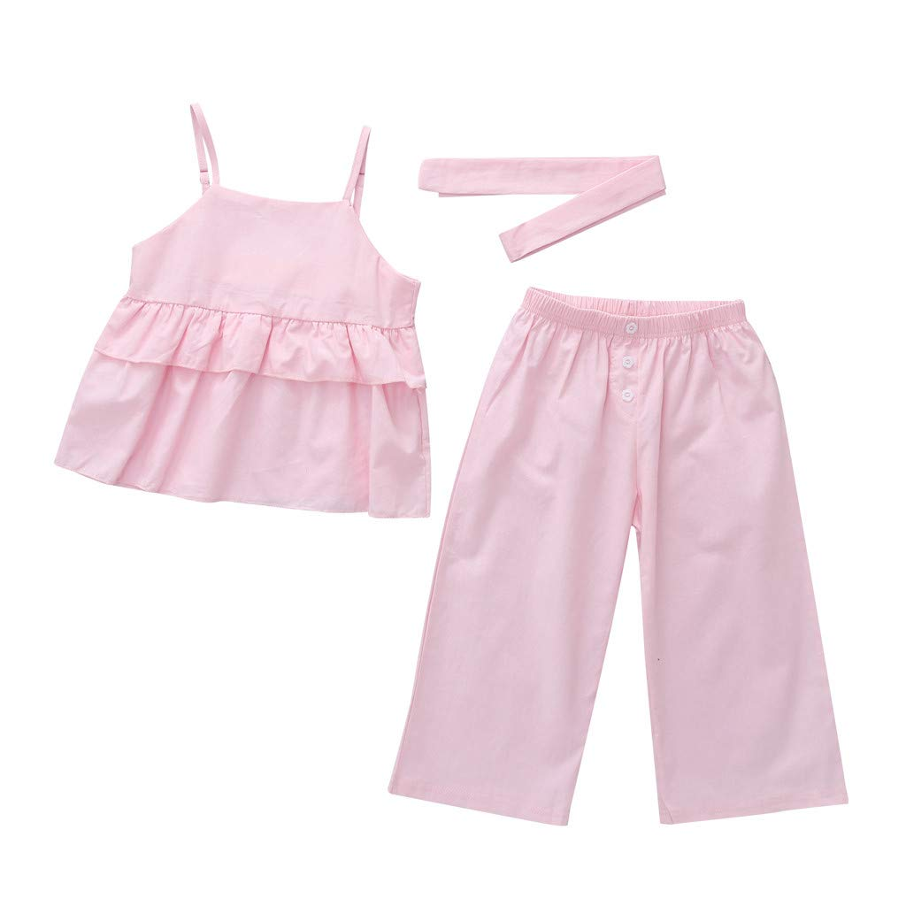 Efaster Infant Kid Baby Girl Solid Color Ruffle Strap Tops T-Shirt Pants Clothes Set 0-4 Years