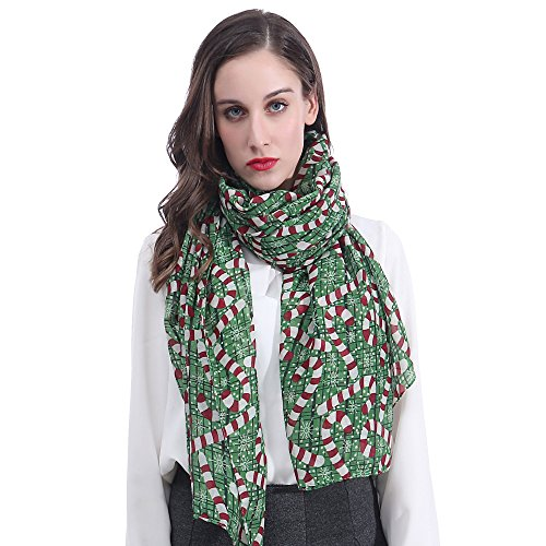 Lina & Lily Candy Cane Print Women's Large Christmas Scarf -
