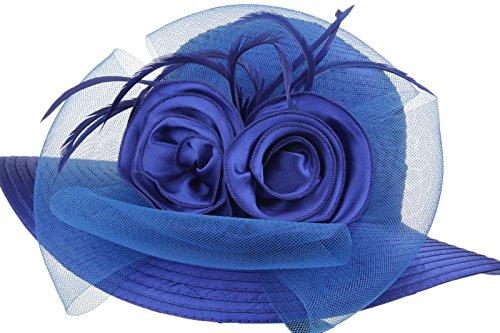 Prefe Lady s Kentucky Derby Dress Church Cloche Hat Bow Bucket Wedding  Bowler Hats (Blue 31fcf52d629f