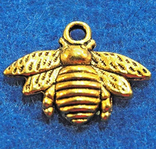 Charms Bee Baby (50Pcs. Wholesale Tibetan Antique Gold Honey BEE Charms Pendants Ear Drops Q0855 Jewelry Making Supply Pendant Bracelet DIY Crafting by Wholesale Charms)