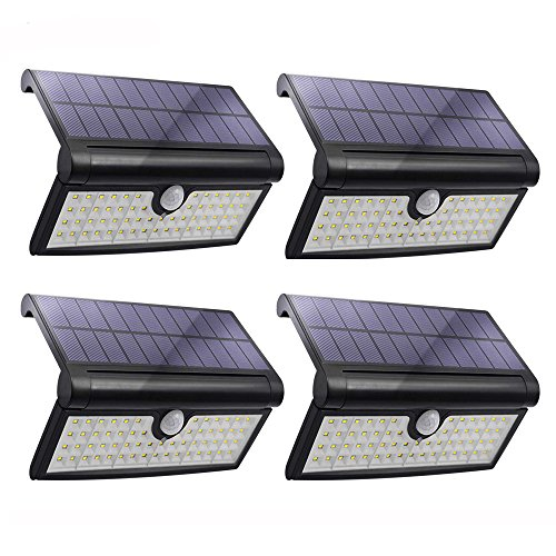 HoozGee Solar Lights Outdoor 58 LED Motion Sensor Wall Light Garden Security Lamp with Wide Lighting Area for Using on Front Door, Back Yard, Garage, Driveway, Deck, Patio and So On (4 Pack)