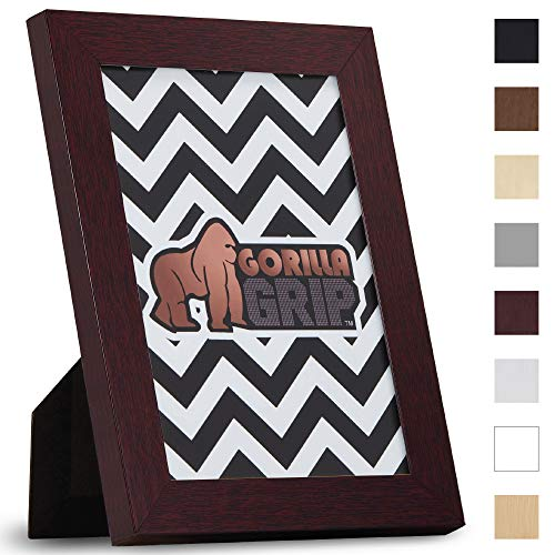 (Gorilla Grip Original Picture Frame (5x7) Faux Wood Photo Frames, Pre-Installed Wall Mounting Hardware or Tabletop Display, Pictures Hang Horizontal or Vertical, Great for Collages (Mahogany))