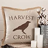 Piper Classics Harvest Crow Throw Pillow Cover, 20'' x 20'', Fall Autumn Country Primitive Farmhouse Home Decor