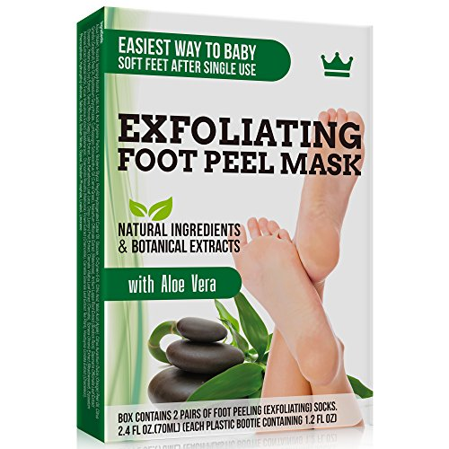 Exfoliating Foot Peel Mask - 2 Pairs of Booties for Smooth and Soft Feet - Peeling Away Rough Heels Dead Skin Cells and Calluses - Aloe Scented Natural Formula for Silky Soft Feet ()