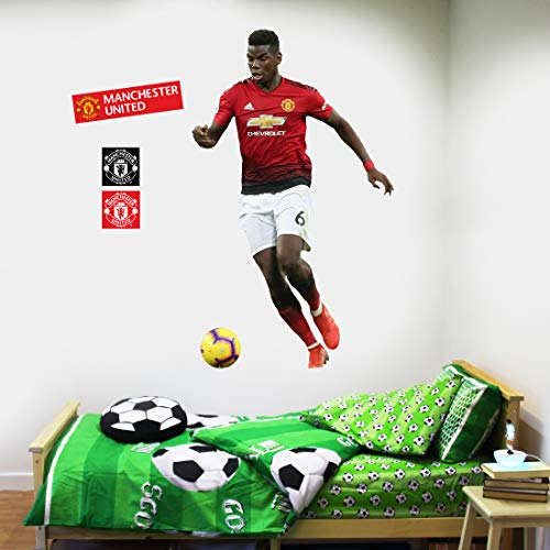 Beautiful Game Ltd Manchester United Football Club Official Paul Pogba Running Player Wall Sticker + Man Utd Logo Decals Vinyl Poster Print Mural Art (120cm Height)