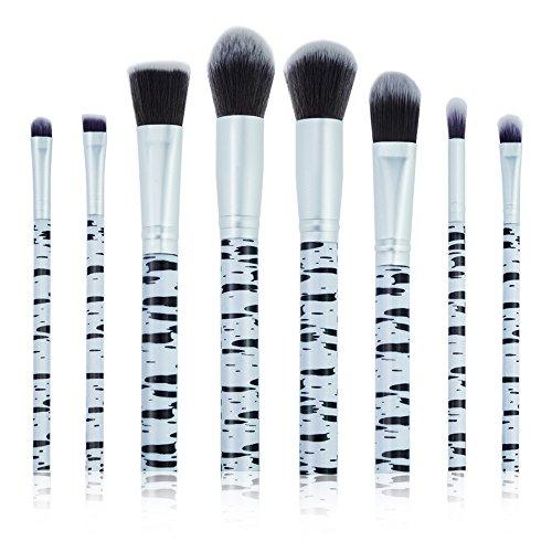 Compia 8 Pcs Marble Makeup Brush Set Professional Face Eye Shadow Eyeliner Foundation Blush Lip Makeup Brushes Powder Liquid Cream Cosmetics Blending Brush Tool