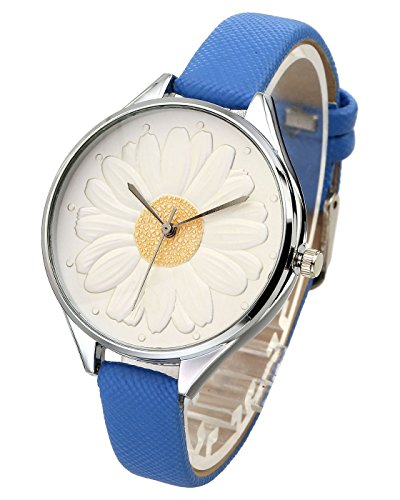 Top Plaza Women Casual Elegant Silver Round Case Thin PU Leather Band Daisy Carve Dial Analog Quartz Watch 30M Waterproof(Blue) (Round Watch Metal Silver)
