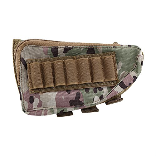 Ammo Pouch Buttstock Pouch Buttstock Shell Holder and Pouch for Rifles Multifunctional Shotgun & Rifle Bullet Pouch Cheek Pad Shell Pouch (Camo)
