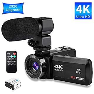 Video Camera 4K Camcorder Ultra HD Vlogging Camera for YouTube,48MP 16X Digital Zoom Recorder IR Night Vision 3.0 inch Touch Screen with Microphone, WiFi Funtion,2 Batteries