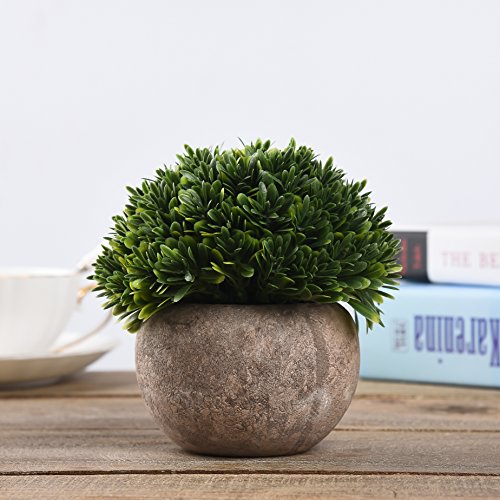 Shuheng Artificial Plant Potted Green Grass for Home Office Outdoor Decor Mini Plastic Fake Lifelike Artificial Flowers (Green, A)