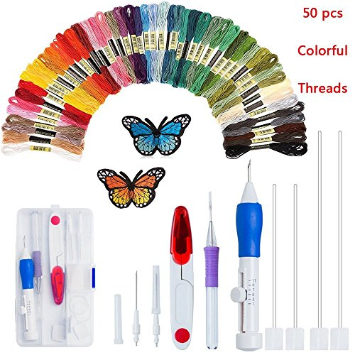 Price comparison product image Magic Embroidery Pen Punch Needles, Embroidery Pen Set,Embroidery Patterns Craft Tool Including 50 Color Threads for DIY Sewing Cross Stitching and Knitting Sewing Tool (-Colorful)