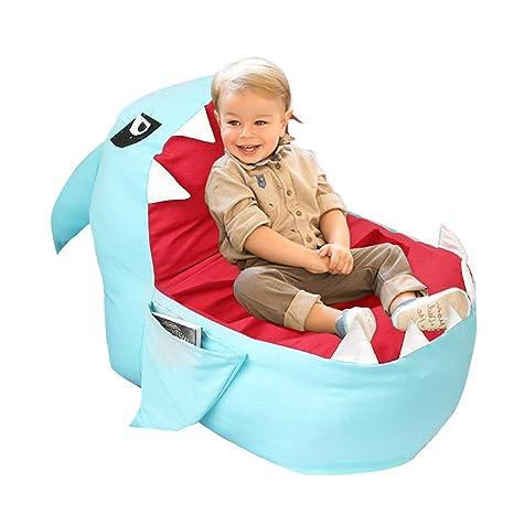 Charmant YHOUSE Cute Shark Bean Bag Chair Cover Kids, Soft Canvas Stuffed Animal  Storage Bags Child