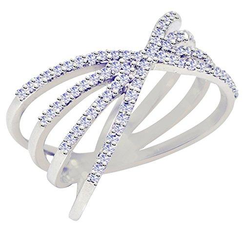 Banithani 925 argent pur nouvel anneau de bande femmes de pierre cz charme doigt bijoux de mode indienne