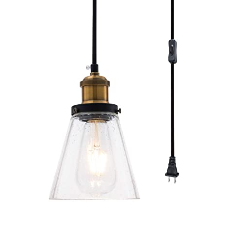 Modern Mini Pendant Light Clear Seeded Glass Shade With 13ft Plug In Cord And On Off Switch Adjustable Vintage Farmhouse Hanging Lamp For Kitchen
